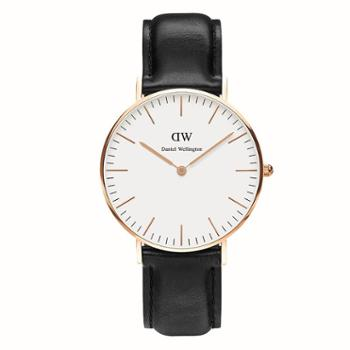 Daniel Wellington DW女表 36mm白盘金边皮带 0508DW(DW00100036)